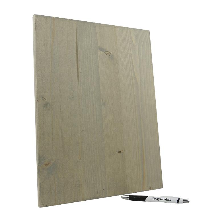 Ontwerp je eigen tekst op hout 40x30 vergrijsd