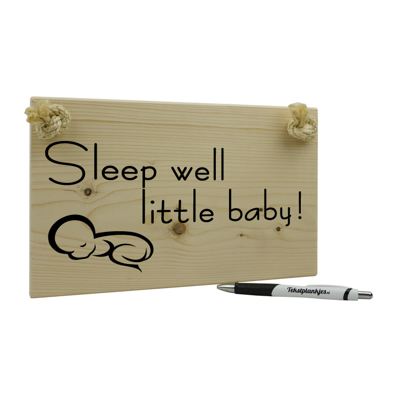 Tekst op hout - sleep well little baby
