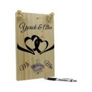 Huwelijkscadeau tekst op hout dubbele hartjes
