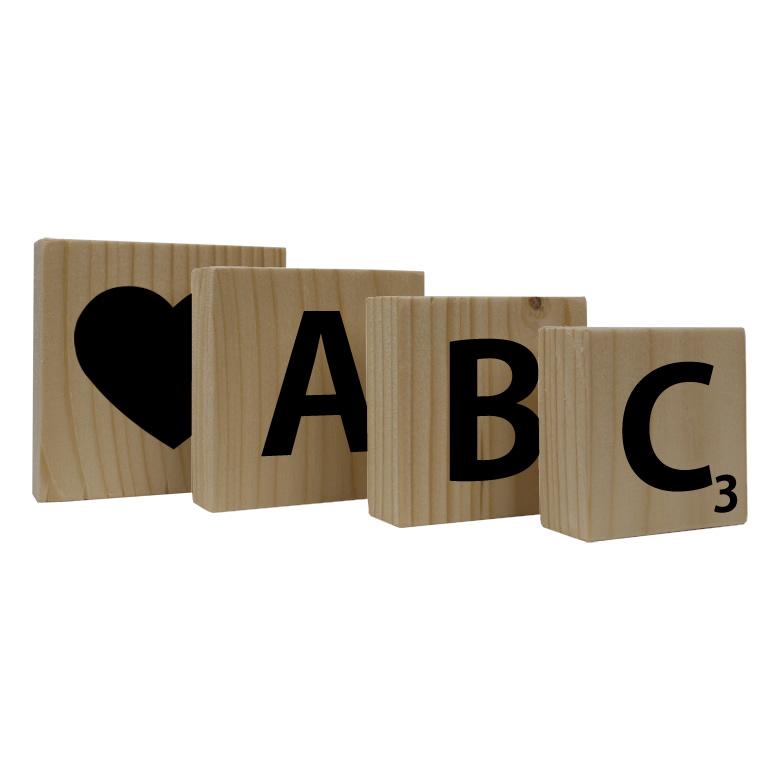 Tekstblok hout met letter of teken