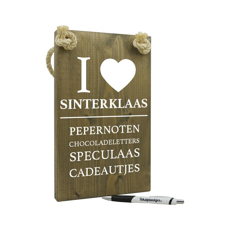 Tekst op hout: I love sinterklaas