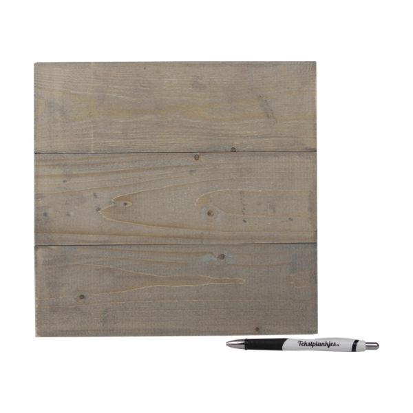 Tekstbord wandbord eigen tekst op hout 28x30 vergrijsd