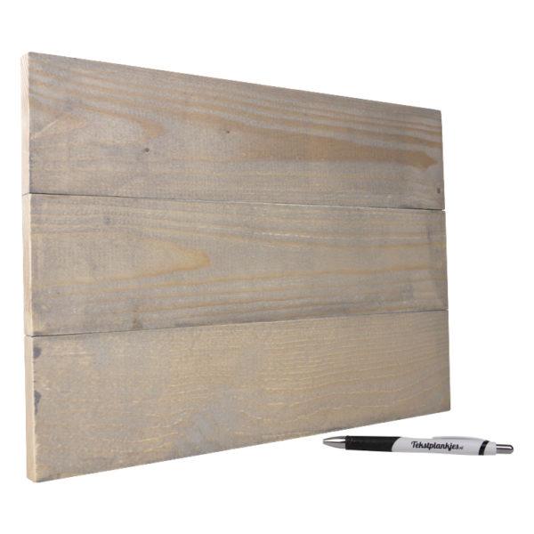 Tekstbord wandbord eigen tekst op hout 28x30 cm vergrijsd