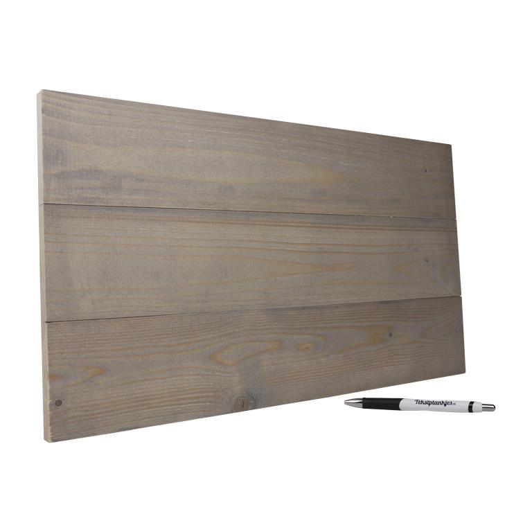 Tekstbord wandbord eigen tekst op hout 28x50 vergrijsd