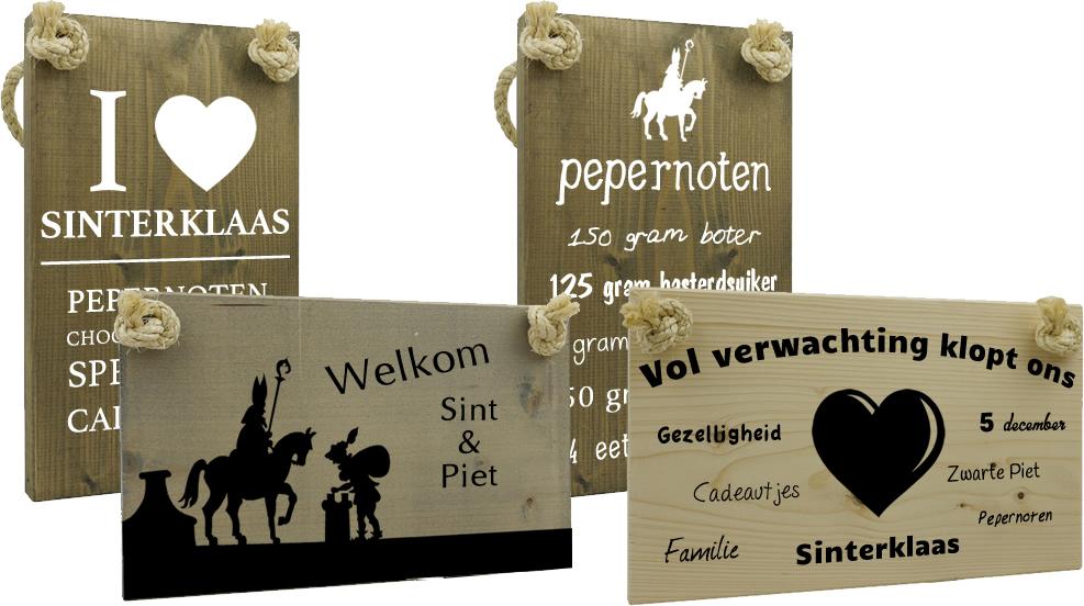 Unieke tekst op hout voor sinterklaas