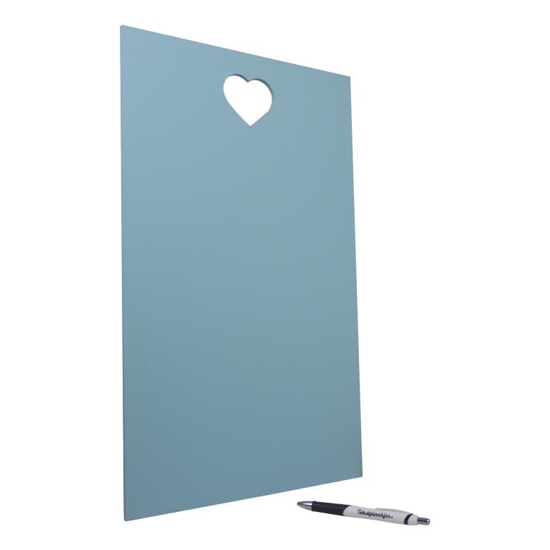 Tekstbord tekst op hout 40x30 hart blauw