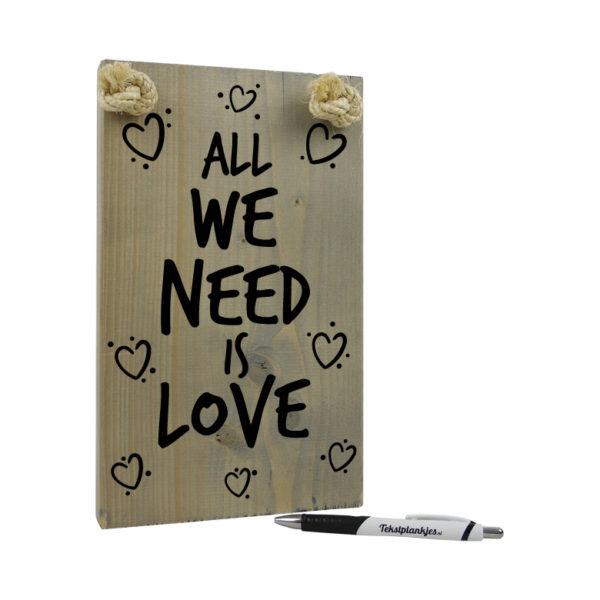 Tekst op hout origineel cadeau all we need is love binnen 3 werkdagen in huis - Huis origineel huis ...