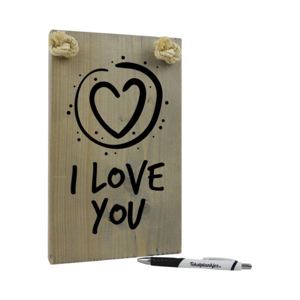 Tekst op hout I love you