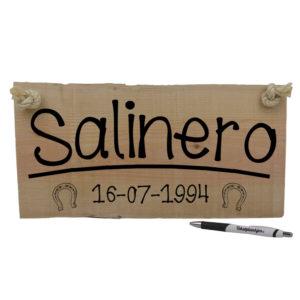 Salinero - Naambordje paard op hout