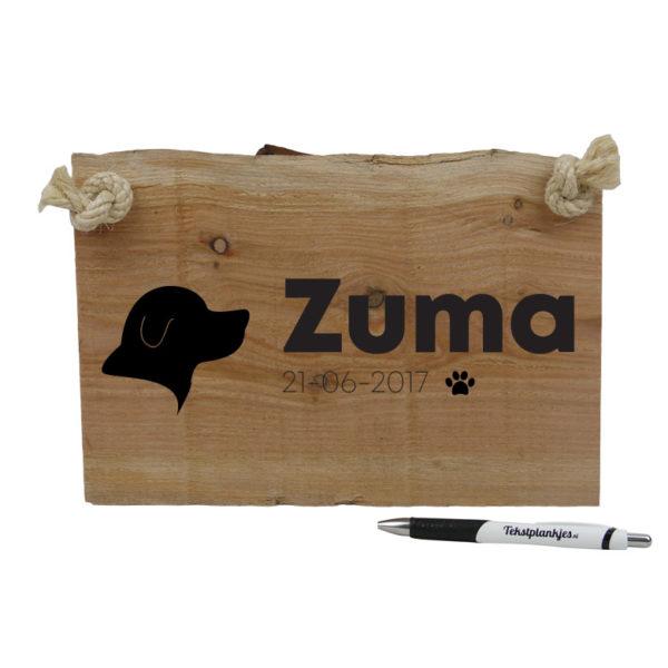 houten naambordje voor je hond