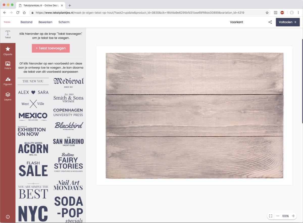 Nieuw ontwerp-tool voor je eigen tekst op hout