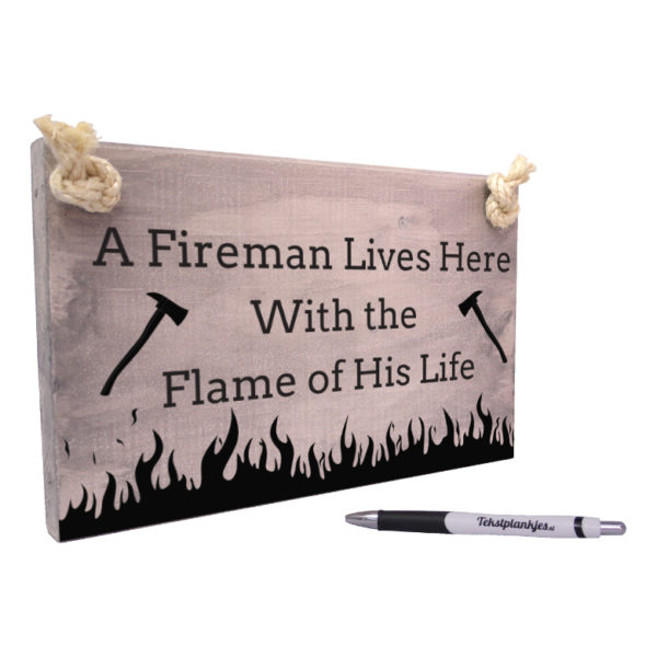 A fireman lives here with the flame of his life vintage look