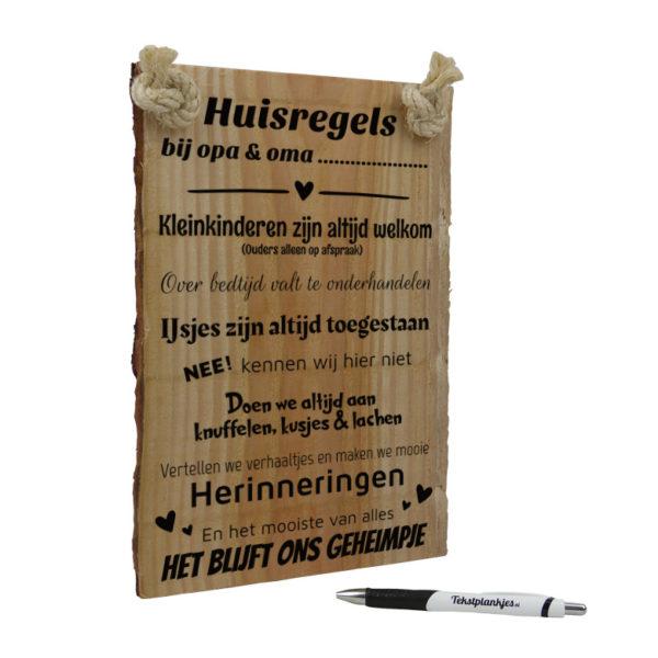 Tekst op hout - huisregels bij opa & oma