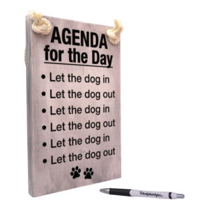 Tekst op hout - agenda for the day - let the dog in