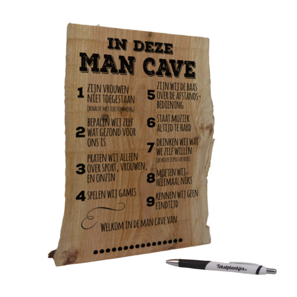 Tekst op hout tekstbord- in deze man cave