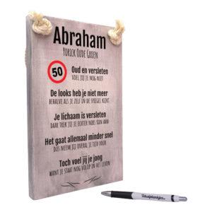 Tekst op hout - abraham - 50 jaar - verjaardag