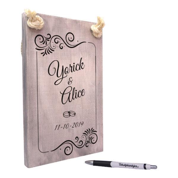tekst op hout - tekstbord - origineel huwelijkscadeau