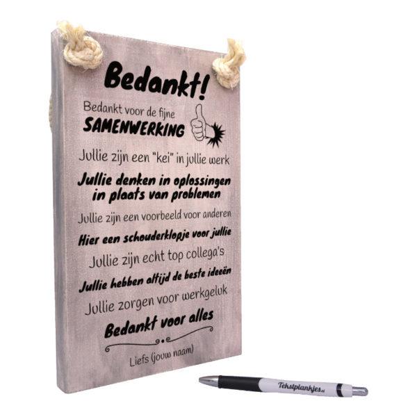 tekst op hout - origineel cadeau - tekstbord - bedankje voor je collegas