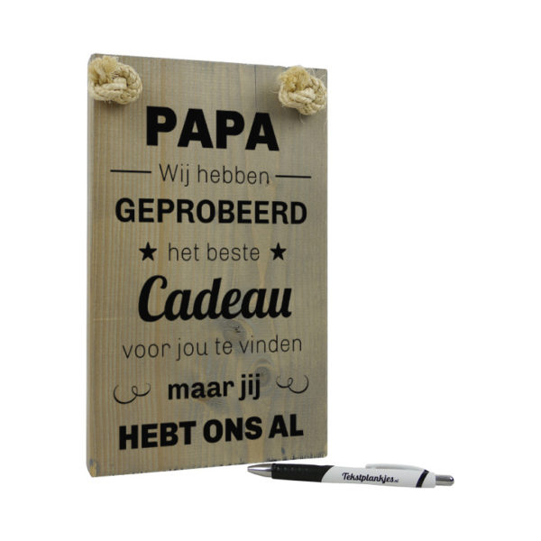 tekst op hout - papa leukste cadeau vaderdag