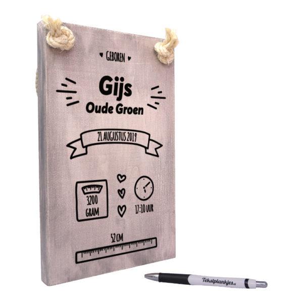tekst op hout - tekstbord - kraamcadeau geboorteplankje vintage