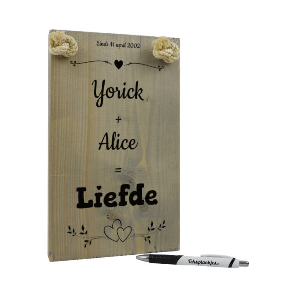 tekst op hout - tekstbord - origineel cadeau vriend - cadeau vriendin - jij plus ik is liefde