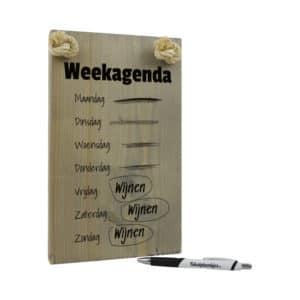 tekst op hout - tekstbord - origineel cadeau - weekagenda - wijnen