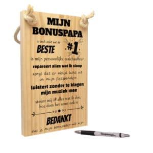 tekst op hout - tekstbord - origineel cadeau bonuspapa of bonusvader - mijn bonus papa is toch echt wel de beste