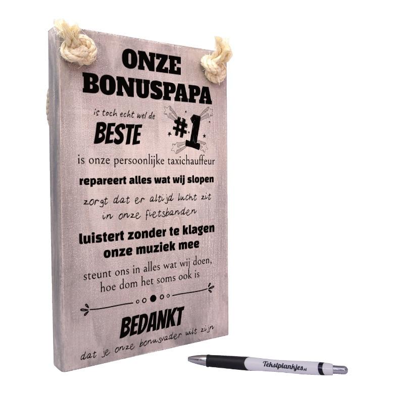 tekst op hout - tekstbord - origineel cadeau bonuspapa of bonusvader - onze bonus papa is toch echt wel de beste