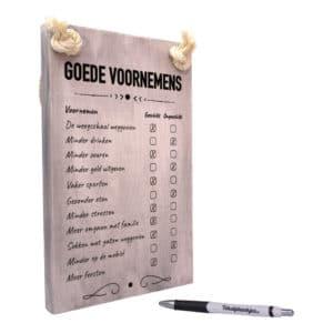 tekst op hout - tekstbord - origineel cadeau - goede voornemens checklist - nieuw jaar