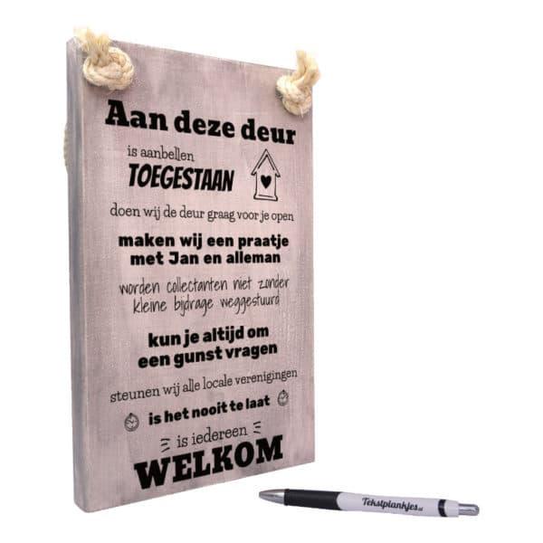 origineel cadeau voordeur - tekst op hout - tekstbord - tekstplankje - aan deze deur is aanbellen toegestaan