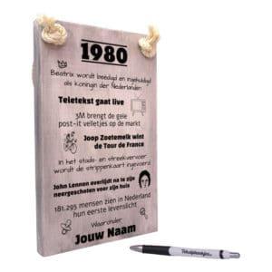 tekst op hout - tekstbord - origineel cadeau 40 jaar verjaardag - verjaardagscadeau geboren in 1980