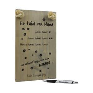 moederdag cadeau - cadeau mama - origineel cadeau - tekst op hout - tekstbord - vandaag leren we de tafel van mama