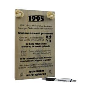 tekst op hout - tekstplankje - tekstbord - origineel cadeau en persoonlijk cadeau man vrouw geboren in 1995