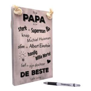 vaderdag cadeau - cadeau papa - tekstbord - tekstplankje - tekst op hout - mijn papa is de beste - dochter