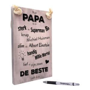 vaderdag cadeau - cadeau papa - tekstbord - tekstplankje - tekst op hout - mijn papa is de beste - zoon