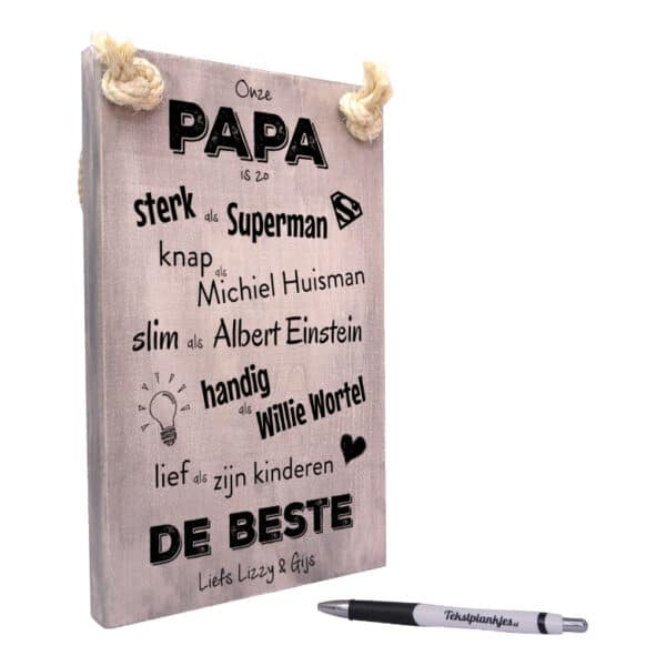 vaderdag cadeau - cadeau papa - tekstbord - tekstplankje - tekst op hout - onze papa is de beste