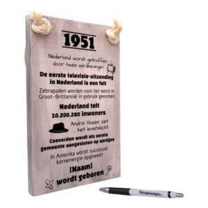 origineel cadeau 70 jaar verjaardag - verjaardagscadeau geboren in 1951