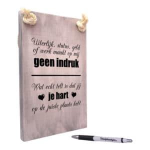 origineel cadeau - wat echt telt is dat jij je hart op de juiste plaats hebt