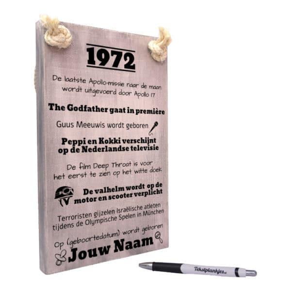 persoonlijk verjaardagscadeau - cadeau 50 jaar verjaardag - verjaardagscadeau geboren in 1972