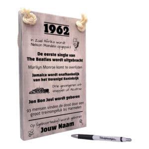 persoonlijk verjaardagscadeau - cadeau 50 jaar verjaardag - verjaardagscadeau geboren in 1962